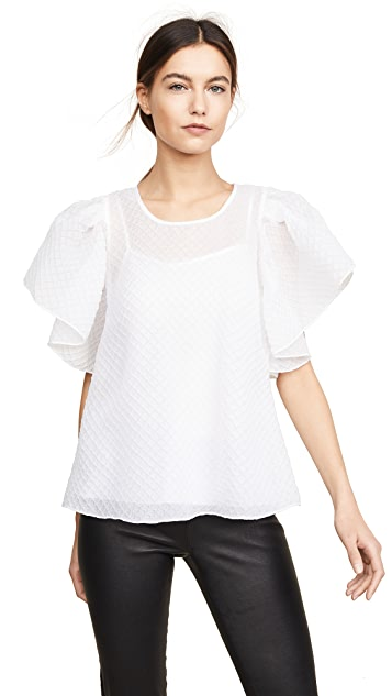 Boutique Moschino Flutter Sleeve Blouse