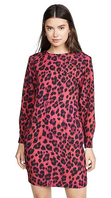 Boutique Moschino 长袖粉色豹纹连衣裙