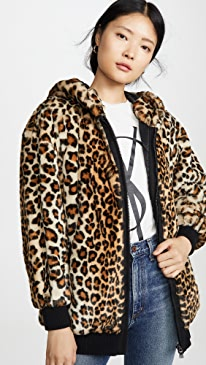 Leopard Print Hooded Jacket