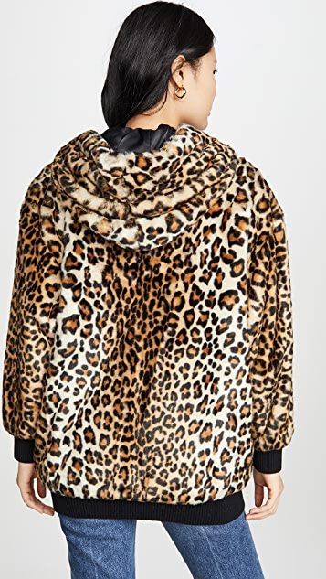 Boutique Moschino Leopard Print Hooded Jacket