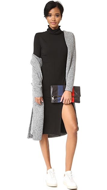 bobi Slit Turtleneck Dress