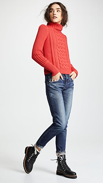 Bop Basics Cable Knit Turtleneck Sweater