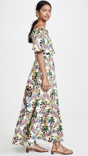 Borgo de Nor Макси-платье Mona с открытыми плечами и цветочным рисунком