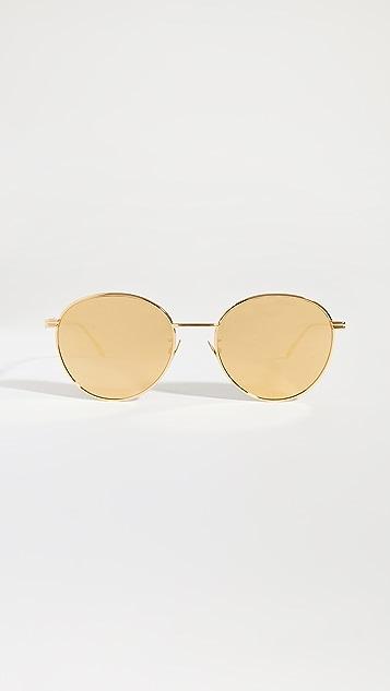 Bottega Veneta 光泽金圆形太阳镜