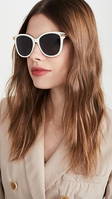 Bottega Veneta Блестящие однотонные округлые солнцезащитные очки цвета слоновой кости