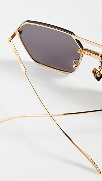 Bottega Veneta 超大几何飞行员太阳镜
