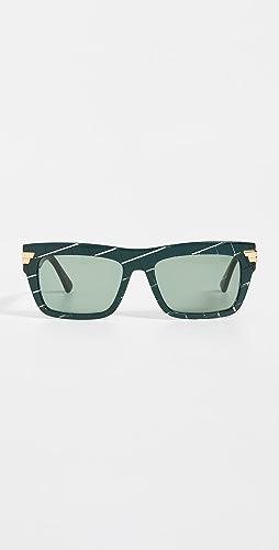 Bottega Veneta - Bold Ribbon Rectangular Sunglasses