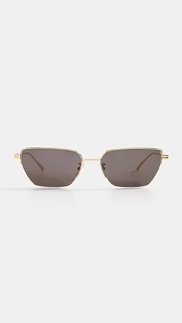 Bottega Veneta 细窄款金属猫眼太阳镜