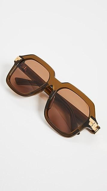 Bottega Veneta 醒目缎带超大方框太阳镜