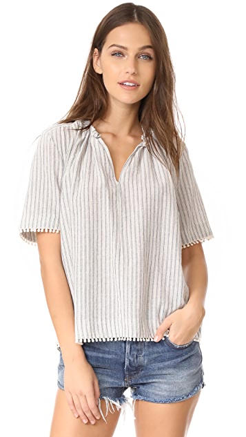 Birds of Paradis Pleat Neck Shirt