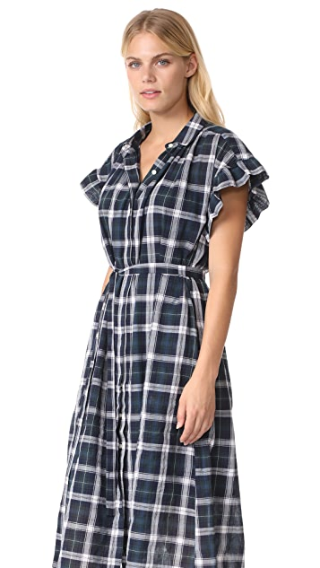 Birds of Paradis The Gillian Ruffle Sleeve Shirtdress