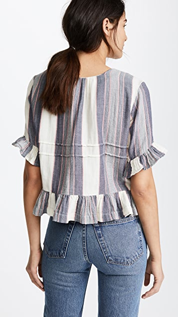 Birds of Paradis Amy Pintuck Peplum Blouse