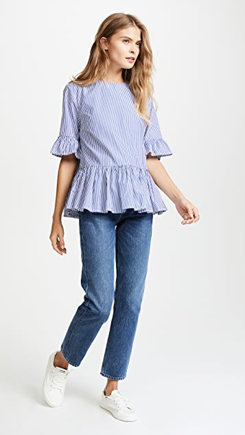 Birds of Paradis The Chloe Peplum Sleeve Shirt
