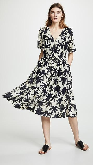 Birds of Paradis Willow Ruffle Hem Dress