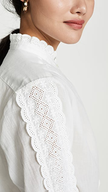 Birds of Paradis Solene Lace Trim Shirt