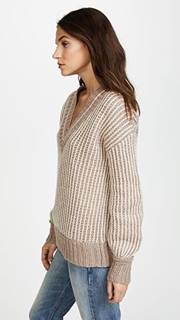Brochu Walker Jenssen Striped V Neck Sweater