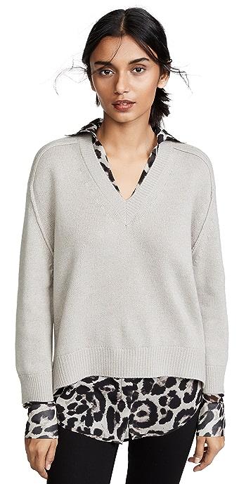 Brochu Walker V Neck Layered Sweater - Light Chia Printed
