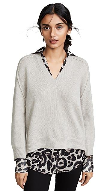 Brochu Walker V Neck Layered Sweater