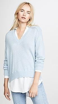 V Neck Layered Pullover