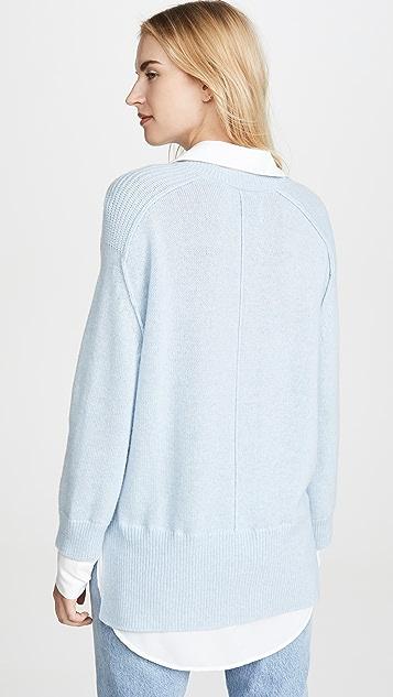 Brochu Walker V Neck Layered Pullover