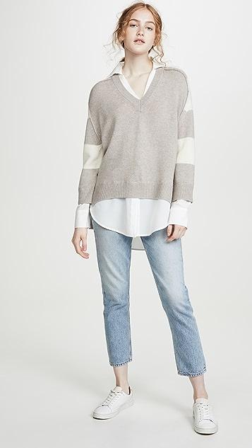 Brochu Walker Многослойный пуловер в полоску с V-образным вырезом