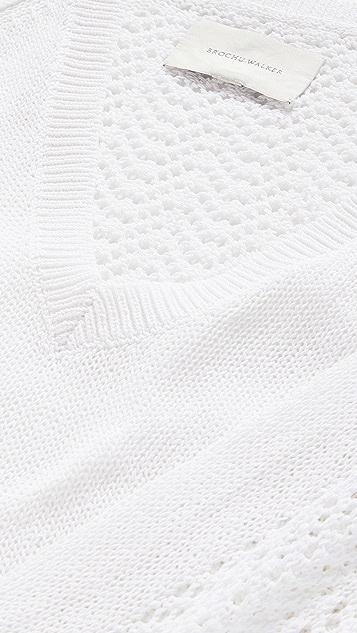 Brochu Walker Ami Pointelle Lace V Sweater