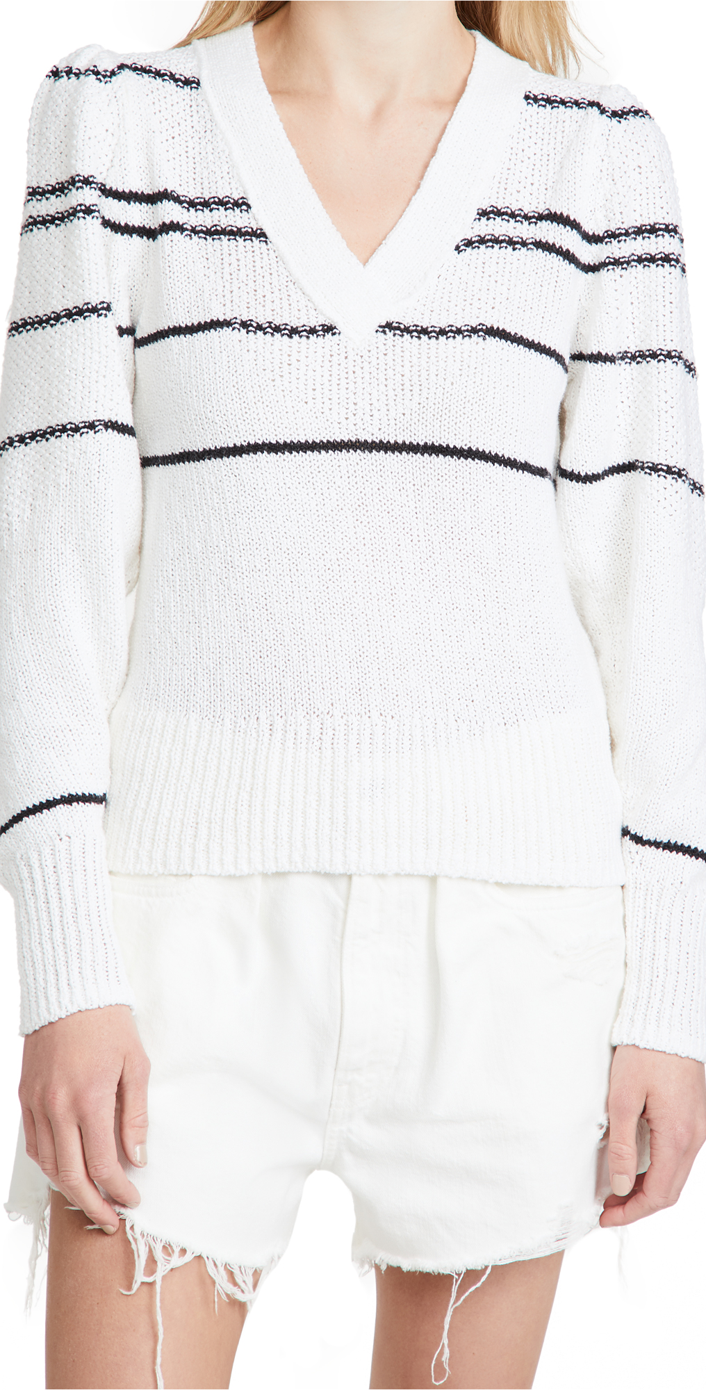 Brochu Walker Sasha Striped Vee Sweater