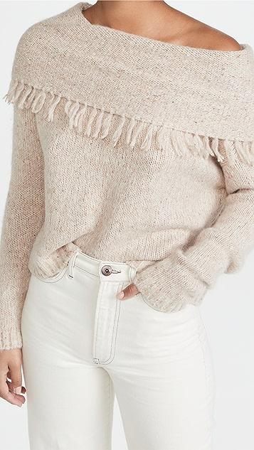 Brochu Walker Lewes Fringe Off Shoulder Sweater