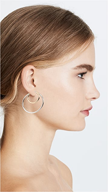 Bronzallure Two Tone Double Hoop Earrings