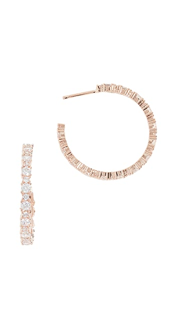 Bronzallure Crystal Hoop Earrings