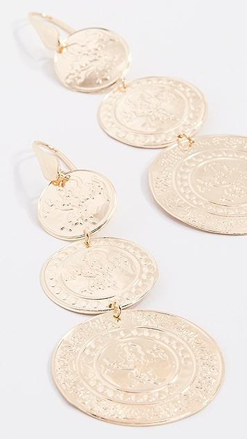 Bronzallure Vintage Coin Drop Earrings - Gold
