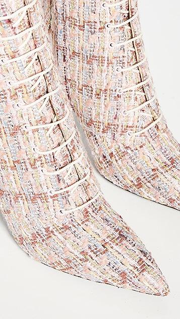 Brock Collection Bouclé Metallic Lace Up Booties