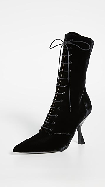 Brock Collection Velvet Lace Up Booties