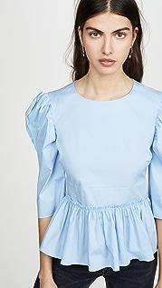 Brock Collection 泡泡袖腰褶女式衬衫