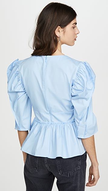 Brock Collection Puff Sleeve Peplum Blouse