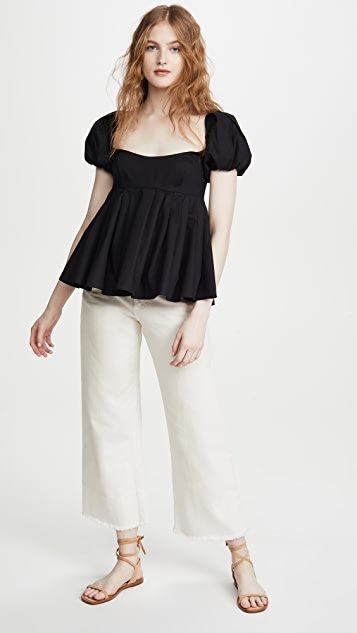 Brock Collection Poplin Puff Sleeve Blouse