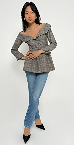Brock Collection - Ladies Woven Plaid Jacket