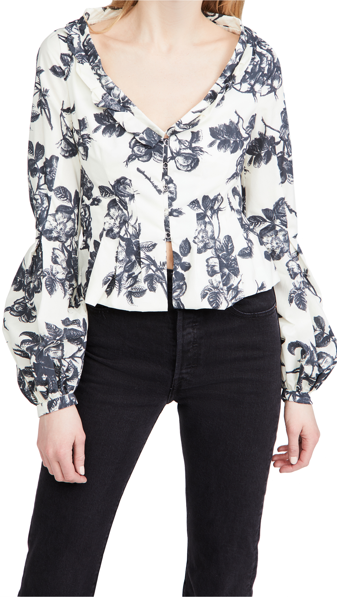 Brock Collection Sabrina Floral Cotton-blend Top In Ivory/navy