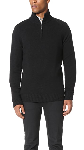 Ben Sherman Half Zip Funnel Neck Sweater