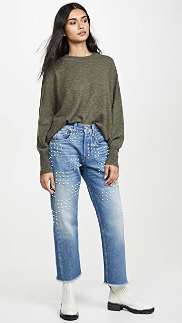 B Sides Marcel Relaxed Straight Jeans with Checker Board Embroidery