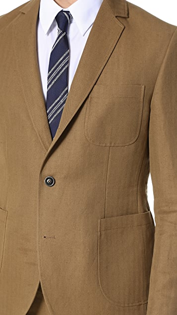Brooklyn Tailors Cotton and Linen Herringbone Unstructured Jacket