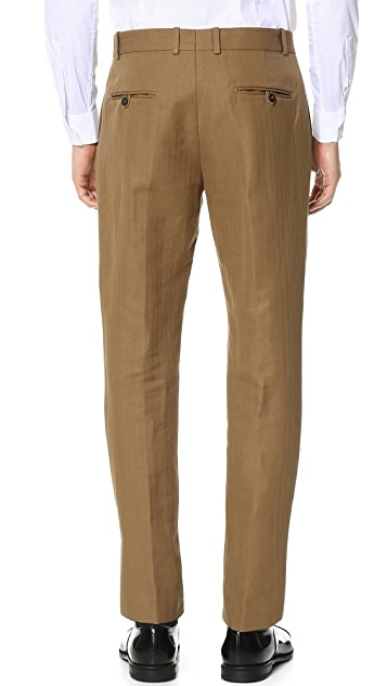 Brooklyn Tailors Cotton and Linen Herringbone Chinos