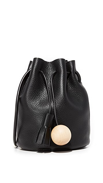 Building Block Pebbled Mini Bucket Bag - Black