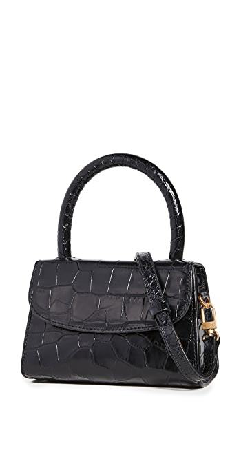 BY FAR Mini Satchel Bag - Black Croco