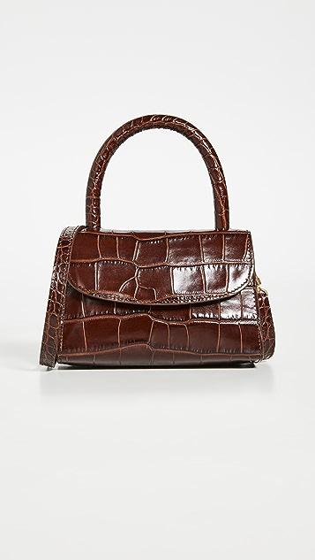 BY FAR Mini Nutella Croco Top Handle Bag