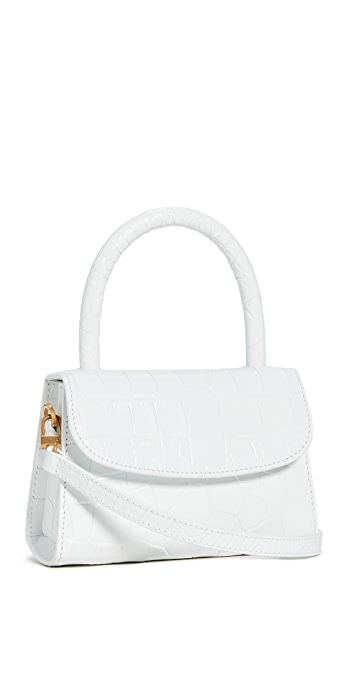 BY FAR Mini Croco Embossed Top Handle Bag - White
