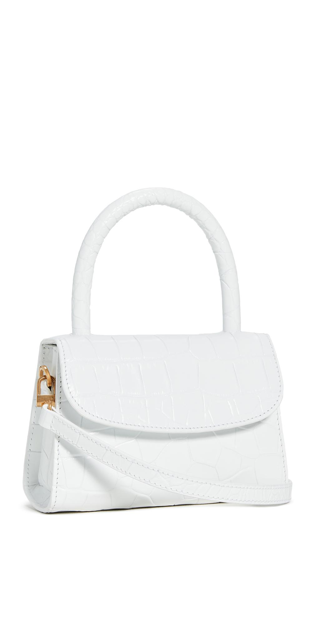 BY FAR Mini Croco Embossed Top Handle Bag