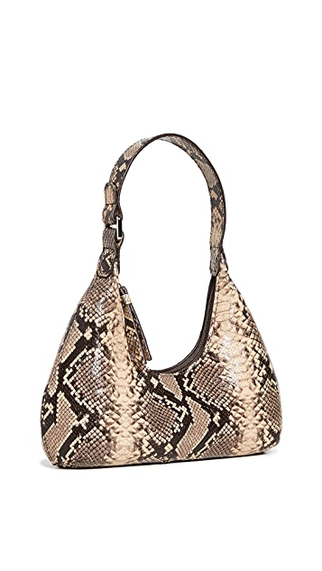 BY FAR Baby Amber Mocha Leather Shoulder Bag