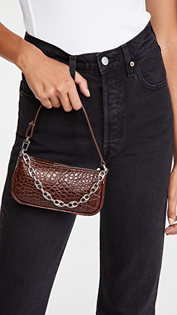 BY FAR Mini Rachel Nutella Croco Embossed Bag