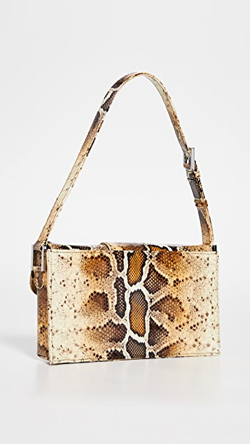 BY FAR Billy Snake Print Patent Leather Bag